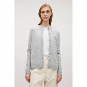 COS Back Pleated Round Neck Wool Cardigan Grey